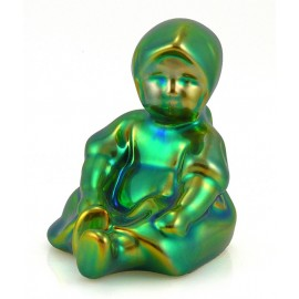 Zsolnay Iridescent Eosin Sitting Girl