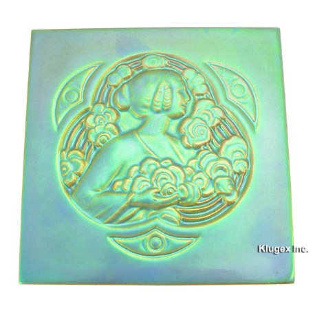 Zsolnay Eosin Tile With Lady