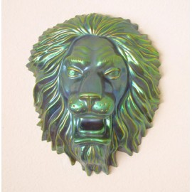 Zsolnay Iridescent Eosin Lion Head Wall Hanging Plaque