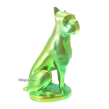 Zsolnay Eosin Boxer Dog Figurine
