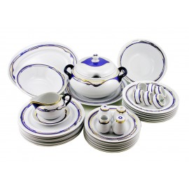 Zsolnay Modern Blue-Gold Decor Dinner Set For 6