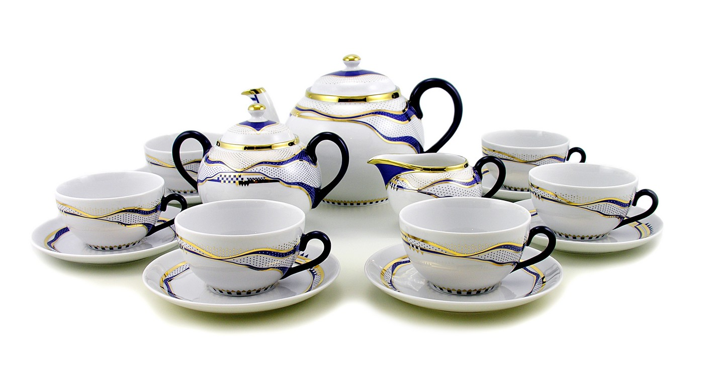 hungarian porcelain zsolnay modern bluegold decor tea set  - hungarian porcelain zsolnay modern bluegold decor tea set  zsolnay shopusa