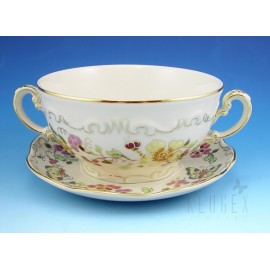 Zsolnay Butterfly Decor Soup Cup & Saucer