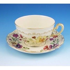 Zsolnay Butterfly Pattern Tea Cup & Saucer
