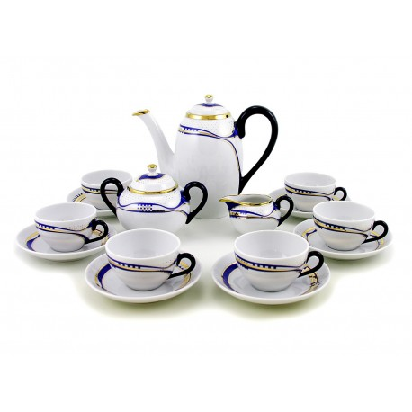 Zsolnay Modern Blue-Gold Decor Espresso Coffee Set