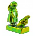 Zsolnay Green Gold Iridescent Eosin Figurine Girl Feeding Chicken