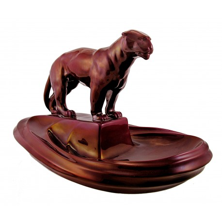 Large Zsolnay Red Eosin Dish with Panther