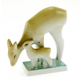 Small Vintage Zsolnay Deer with Fawn Figurine