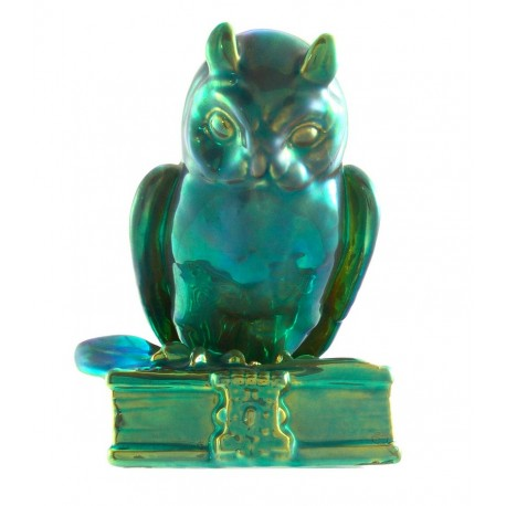 Vintage Zsolnay Eosin Owl Figurine on Book