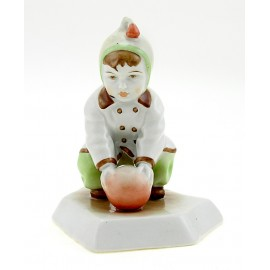 Vintage Zsolnay Figurine Boy Playing with Ball