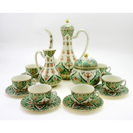 Zsolnay Persian Mocha Coffee Set for Six – Green