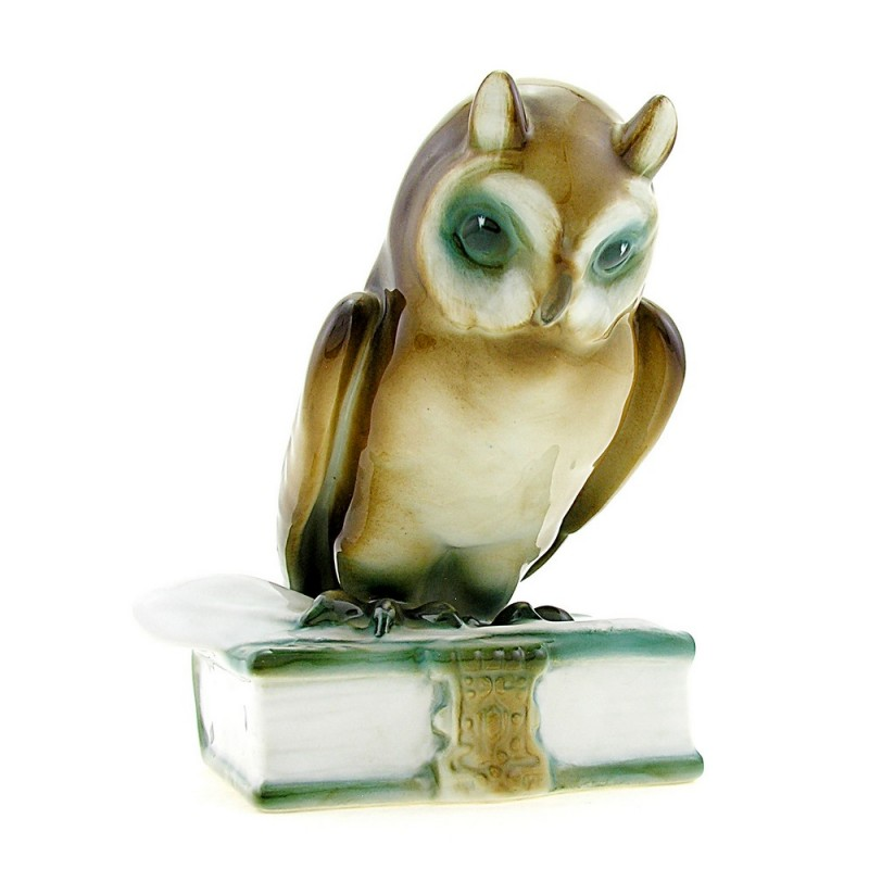 Vintage Hungarian Porcelain Zsolnay Owl Figurine On Book