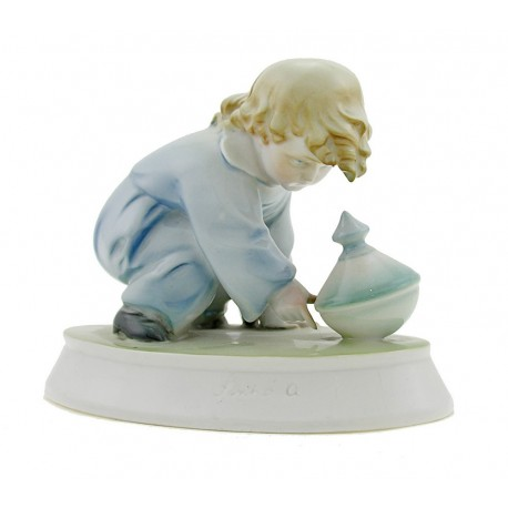 Vintage Zsolnay Playing Girl Figurine