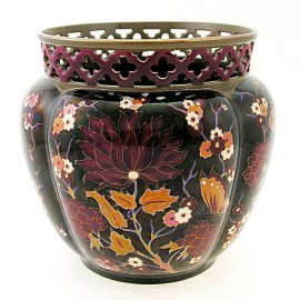 Large Zsolnay Multi Color Iridescent Eosin Openwork Cachepot