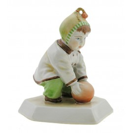 Vintage Hungarian Porcelain Figurine Zsolnay Boy Playing with Ball