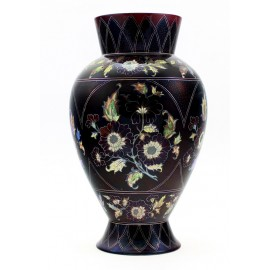 Zsolnay Multi Color Iridescent Eosin Vase with Flowers