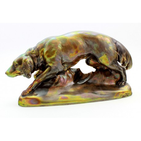 Large Antique Zsolnay Iridescent Eosin Hunting Dog Figurine