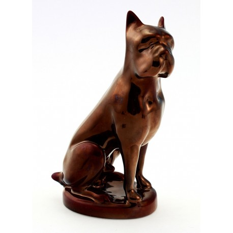 Zsolnay Red Eosin Boxer Dog Figurine