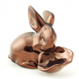 Zsolnay Eosin Rabbit Figurine with Cabbage Leaf