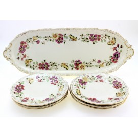 Zsolnay Butterfly Decor Sandwich Set 7Pc - Serving Platter with 6 Pieces of Plates