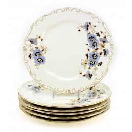 Zsolnay Cornflower Decor Dinner Plates Set of Six