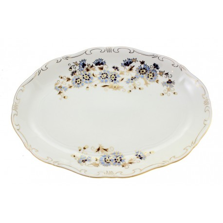 Zsolnay Cornflower Decor Oval Serving Platter