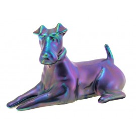 Zsolnay Unique Eosin Resting Fox Terrier Dog Figurine