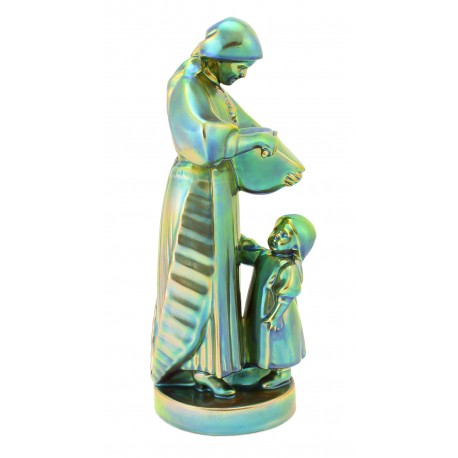 Zsolnay Iridescent Eosin Mother And Child Figurine