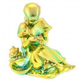 Zsolnay Iridescent Eosin Figurine Girl Feeding Goose