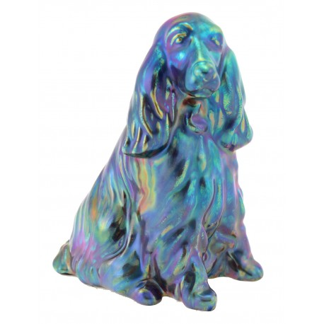Zsolnay Unique Iridescent Eosin Spaniel Dog Figurine