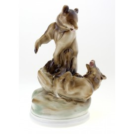 Vintage Hungarian Porcelain Large Zsolnay Playing Bears Figurine