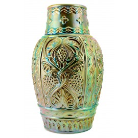 Large Zsolnay Iridescent Eosin Vase with Grapes Embossed