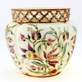 Large Zsolnay Hand-Painted Cachepot