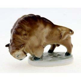 Vintage Small Zsolnay Bull Bison Figurine