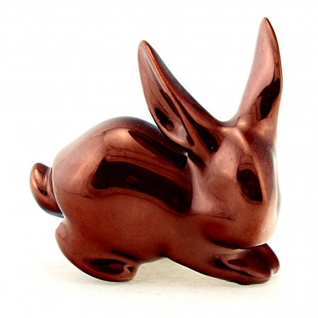 Zsolnay Iridescent Eosin Bunny Rabbit Figurine - Red