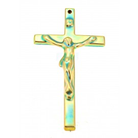Small Zsolnay Green Iridescent Eosin Crucifix Cross