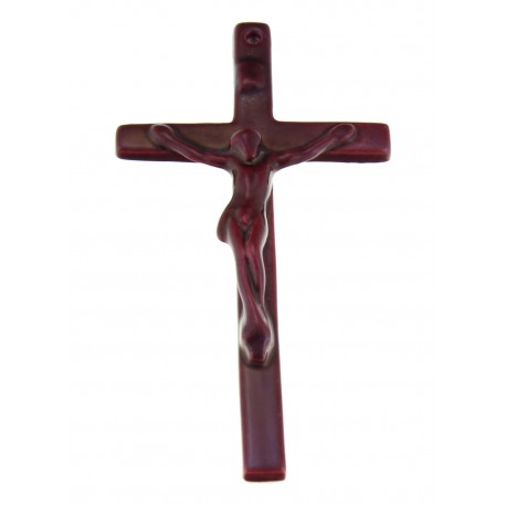 Small Zsolnay Dark Red Crucifix Cross