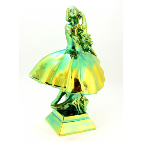 Large Zsolnay Eosin Ballerina Girl Figurine