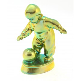 Zsolnay Iridescent Eosin Boy Playing with Ball Figurine