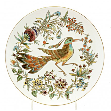Zsolnay Wall Plate With Bird Decor