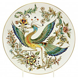 Zsolnay Hand-Painted Porcelain Wall Plate with Bird