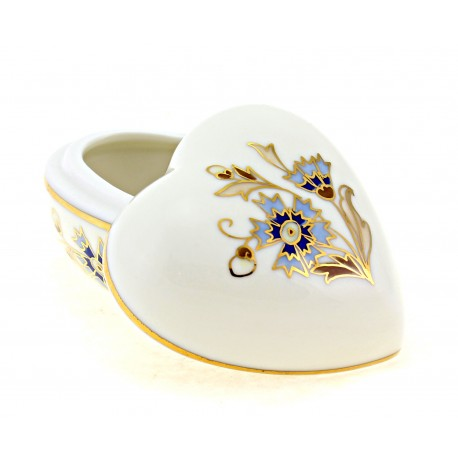 Zsolnay Cornflower Decor Heart Shaped Covered Dish