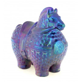 Zsolnay Iridescent Eosin Art Deco Horse Figurine – Unique Color
