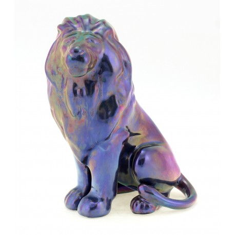 Zsolnay Unique Iridescent Eosin Lion Figurine