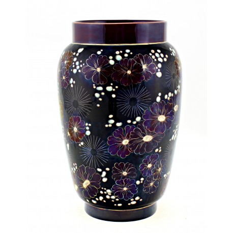 Zsolnay Iridescent Eosin Vase With Flowers Decor – Signed