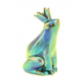 Small Zsolnay Eosin Princess Frog Figurine