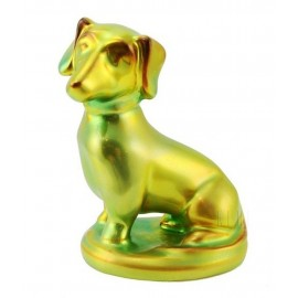 Sitting Zsolnay Iridescent Eosin Dachshund Dog Figurine