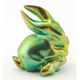 Zsolnay Eosin Bunny Figurine with Branch