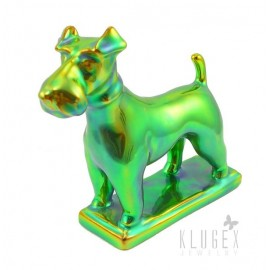 Standing Zsolnay Iridescent Eosin Fox Terrier Dog Figurine