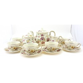 Large Zsolnay Butterfly Decor Tea Set For 6